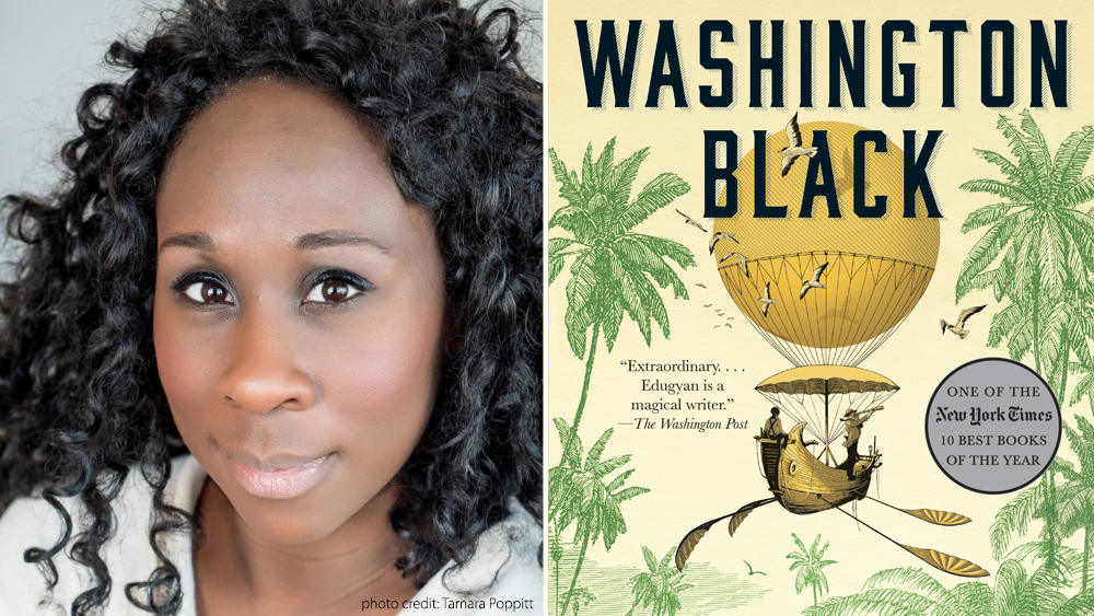 Photo of Esi Edugyan and her book Washington Black